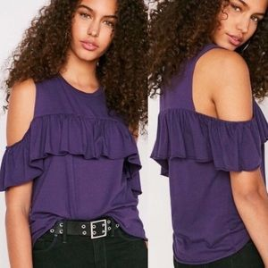 New! Urban outfitters cold shoulder ruffle top